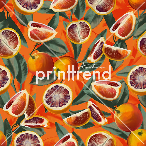 Red orange tropical print - Exclusive PSD