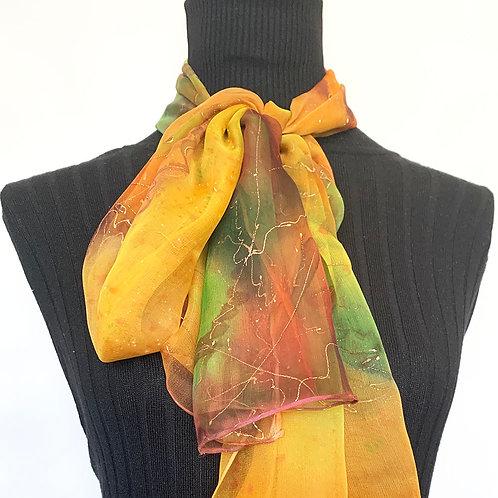 Hand Painted Silk Scarf Autumn 180x40cm