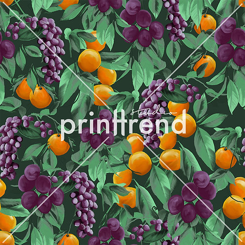 Grape and oranges tropical print - Exclusive PSD