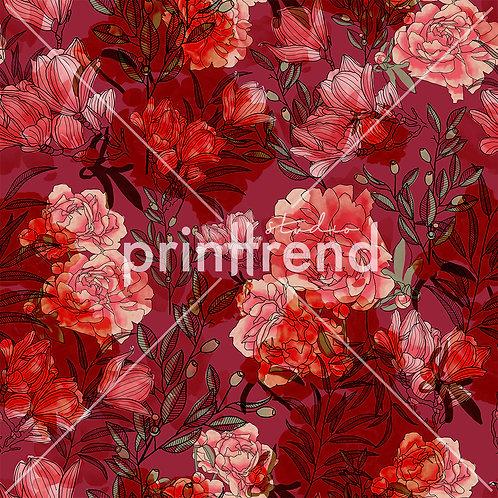 Deep red florals - Exclusive PSD