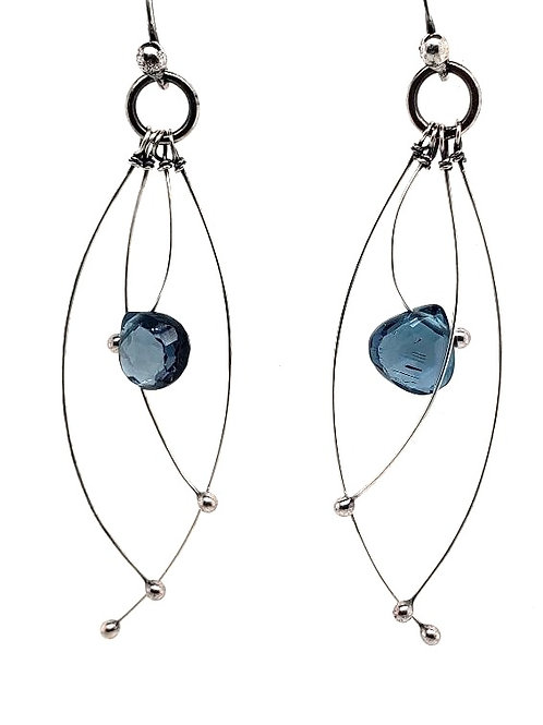 """Tickle"" Earrings - Sterling Silver & Topaz"