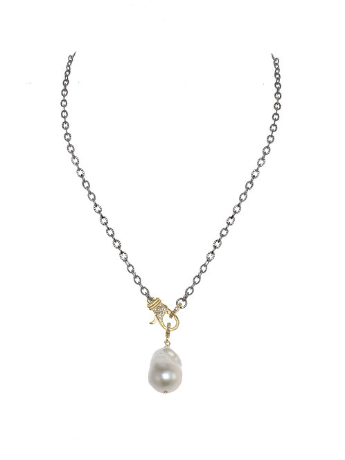 Sterling Silver & 18kt Gold Vermeil Chain With Pave Diamond Clasp