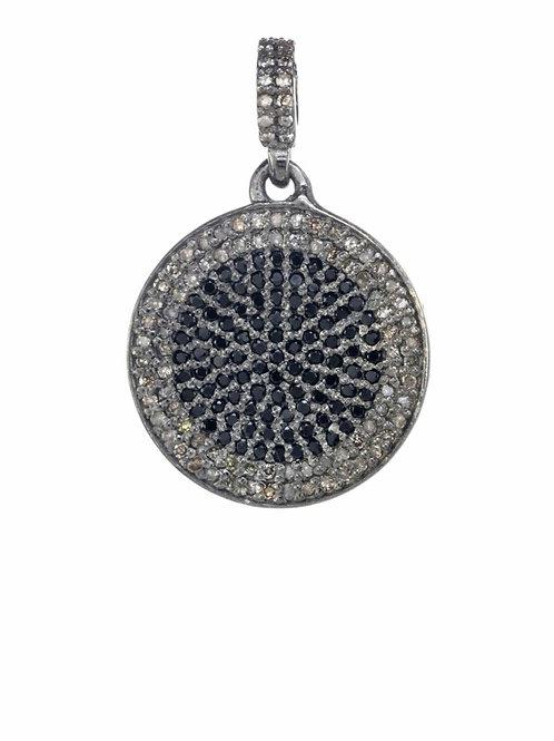 Pave Diamond & Black Spinel Disc Charm - Margo Morrison