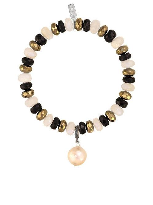 Moonstone, Black Spinel, Pyrite & Baroque Pearl Bracelet - Margo Morrison