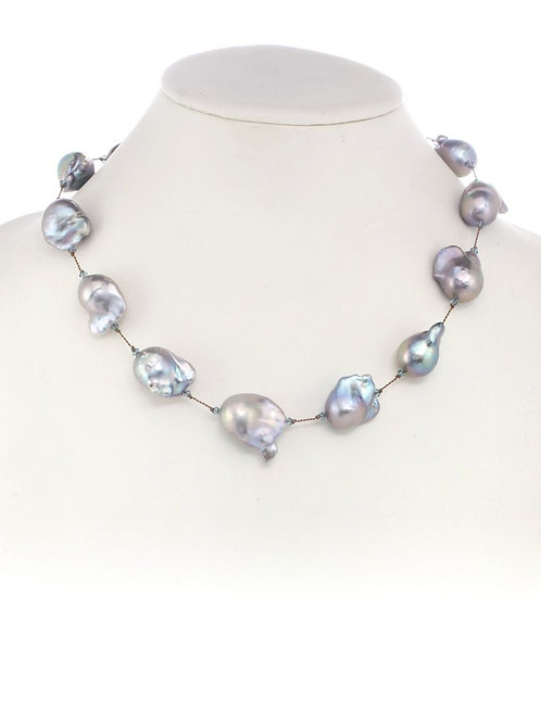 Grey Baroque Pearl Necklace - Margo Morrison