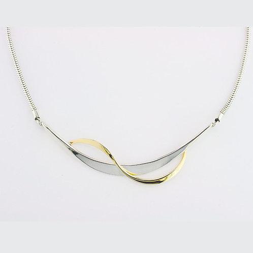 Ribbon Necklace - Sterling Silver & 14kt Gold