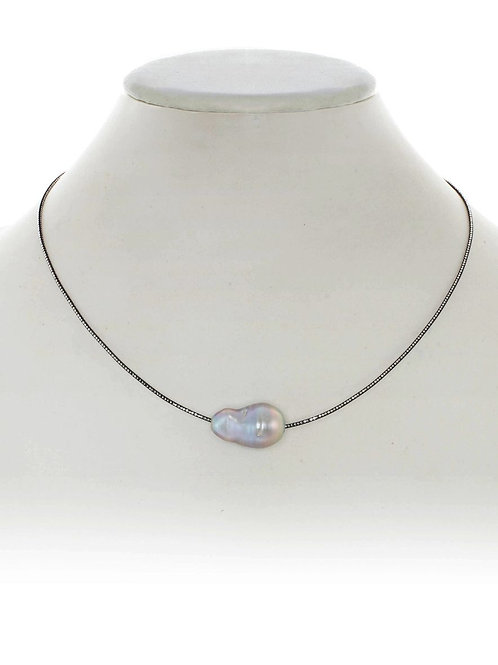 """Ruthenium/Sterling 16"""" Neckwire With Grey Baroque Pearl - Margo Morrison"""