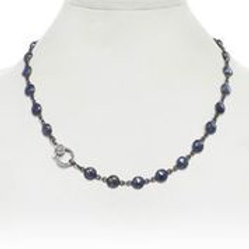 Blue Moonstone & Diamond Clasp Necklace - Margo Morrison