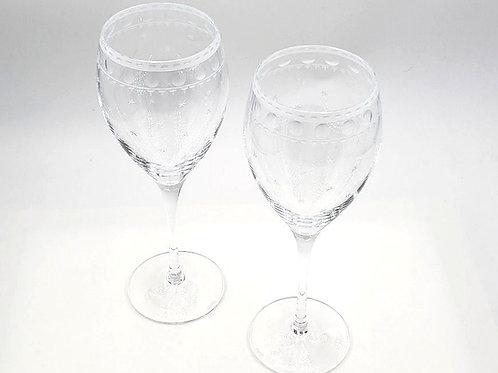 "Artel Crystal Wine Goblet - ""Staro"" Pattern - Set of 2"