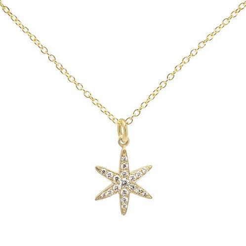 Pave Diamond & 18kt Gold Star Necklace - Anne Sportun