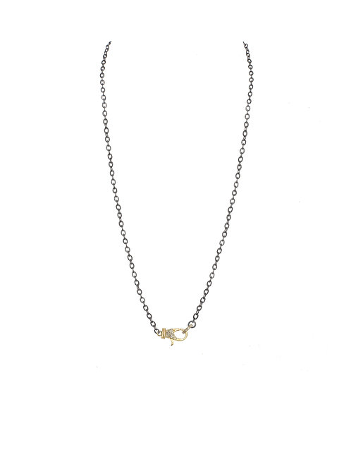 """Sterling Silver & 18kt Gold Vermeil Chain With Pave Diamond Clasp - 24"""""""