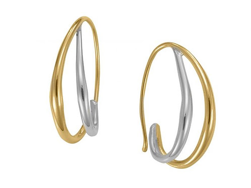 """""""Duo"""" Earrings - Sterling Silver & 14kt Gold Overlay"""