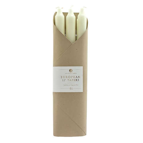 "Pack of Six 12"" Taper Candles - Ivory"