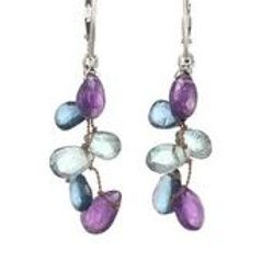 Amethyst, London Blue & Green Topaz Earrings - Margo Morrison