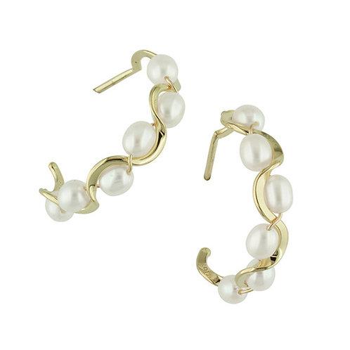 Ruffle Pearl Earrings - 14kt Gold - Tom Kruskal