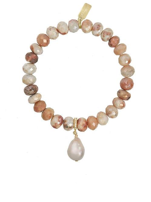 Mystic Moonstone & White Baroque Pearl Bracelet - Margo Morrison