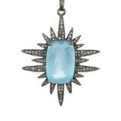 Aquamarine & Diamond Sun Charm - Margo Morrison