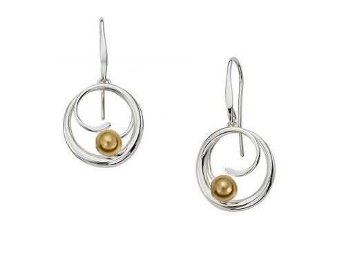 """Bindu"" Dangle Earrings - Sterling Silver & 14kt Gold - Ed Levin Studio"