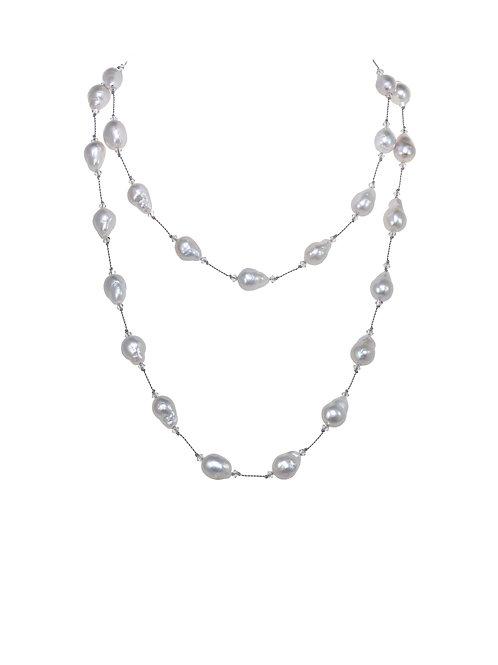"Margo Morrison - 35"" Small White Baroque Pearl Necklace"