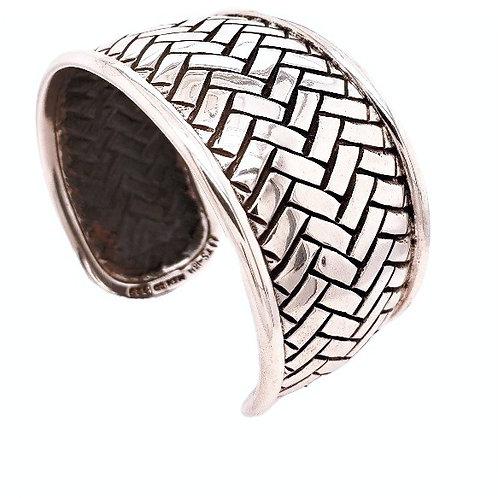 """""""Basket Weave"""" Cuff Bracelet - Sterling"""