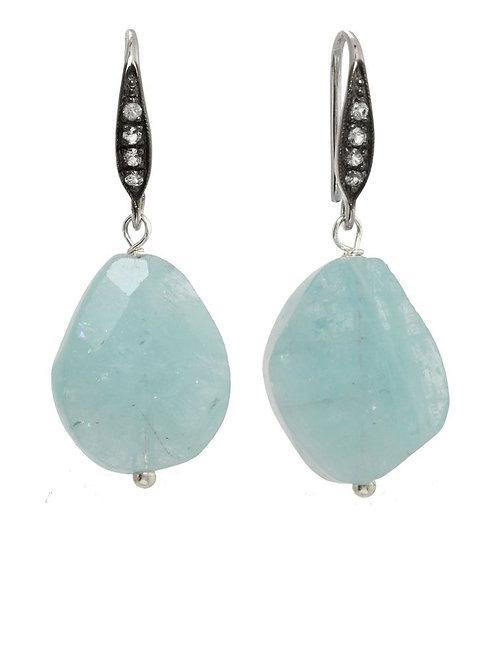 Aquamarine & White Sapphire Earrings - Margo Morrison