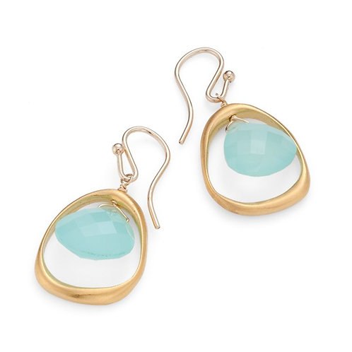 Open Circle With Chalcedony Earrings - Philippa Roberts