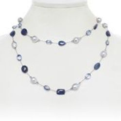 Blue Sapphire, Quartz, & Baroque Pearl Necklace - Margo Morrison