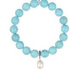 Turquoise, Baroque Pearl & Pave Diamond Bracelet - Margo Morrison