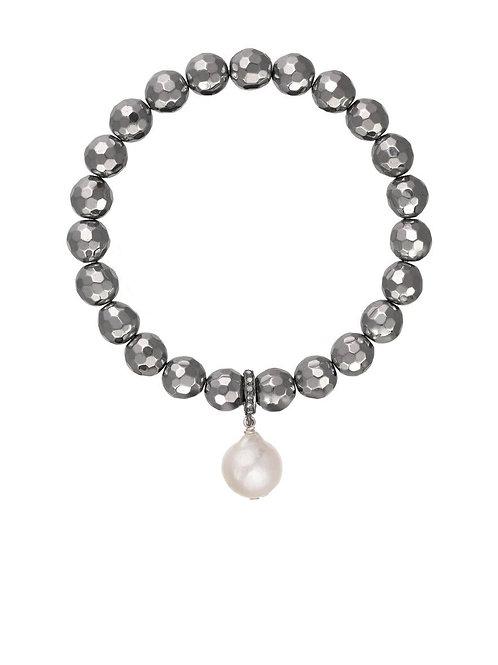 Pyrite & White Baroque Pearl Bracelet - Margo Morrison