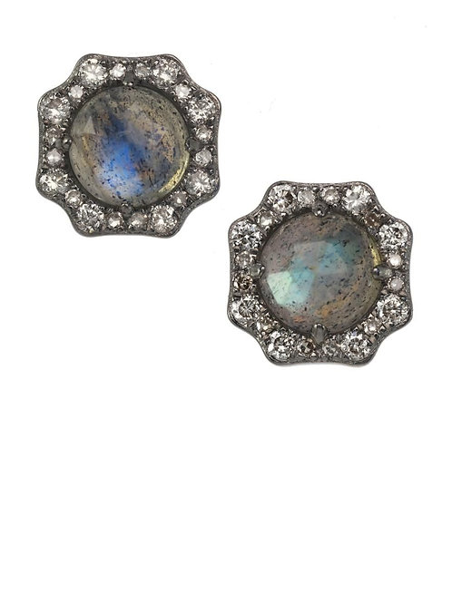 Labradorite & Diamond Earrings