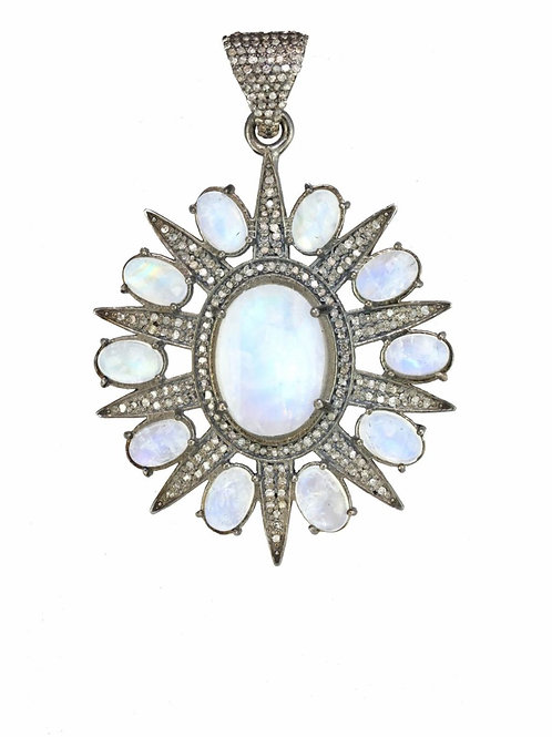 Rainbow Moonstone & Pave Diamond Charm - Margo Morrison