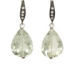 Green Amethyst & White Sapphire Earrings - Margo Morrison
