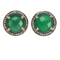 Green Onyx & Pave Diamond Earrings - Margo Morrison