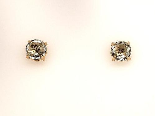Green Amethyst & 14kt Gold Post Earrings