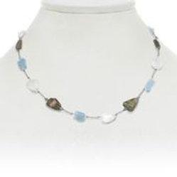 Aquamarine, Moonstone, & Labradorite Necklace - Margo Morrison