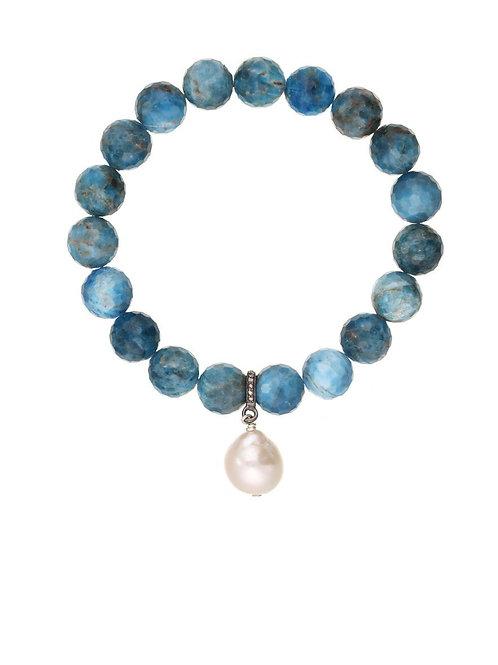 Apatite & White Baroque Pearl Bracelet - Margo Morrison