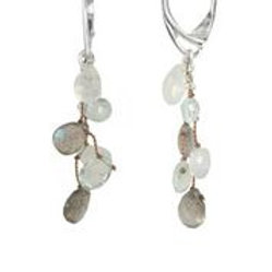 Labradorite, Moonstone, & Aquamarine Earrings - Margo Morrison