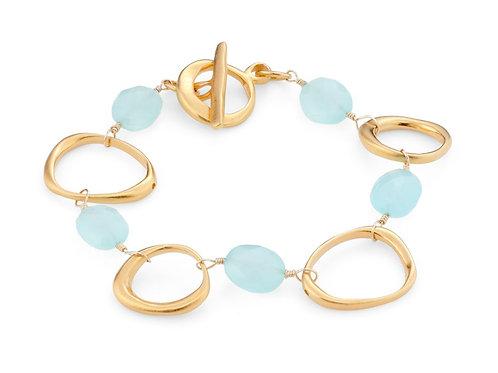 Open Circles Bracelet - Chalcedony & Vermeil