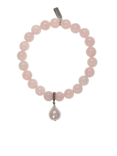 Rose Quartz & White Baroque Pearl Bracelet - Margo Morrison
