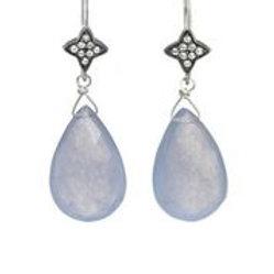 Blue Jade & White Sapphire Earrings