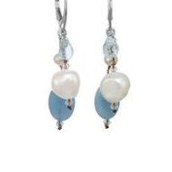 Aquamarine & Pearl Earrings - Margo Morrison