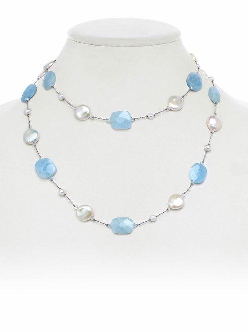Aquamarine & Pearl Necklace - Margo Morrison