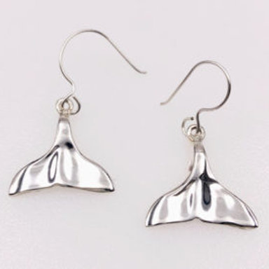 Whale Tail Earrings - Sterling Silver
