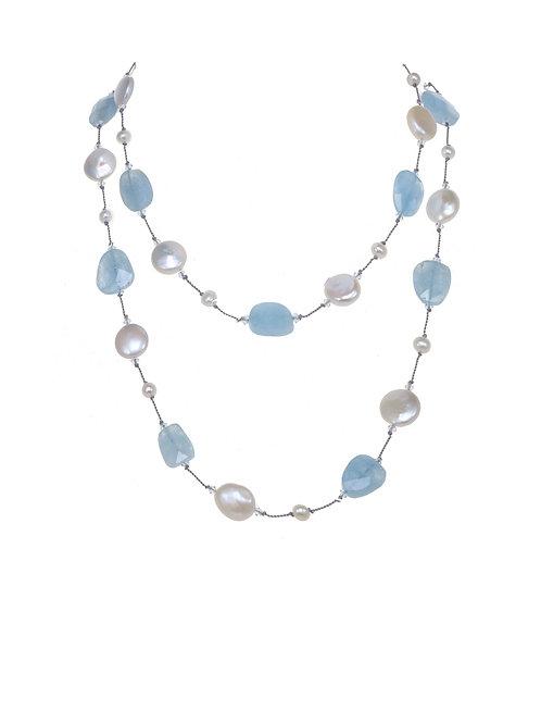 Margo Morrison - Aquamarine & Coin Pearl Necklace
