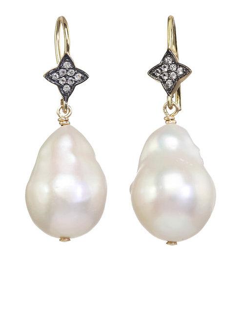 White Baroque Pearl Earrings