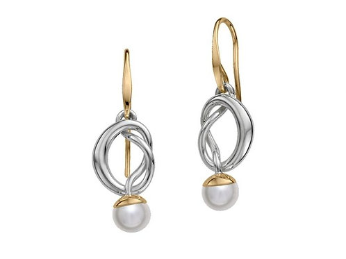 """Knotty"" Earring - Sterling Silver, 14kt Gold, Pearl - Ed Levin Studio"