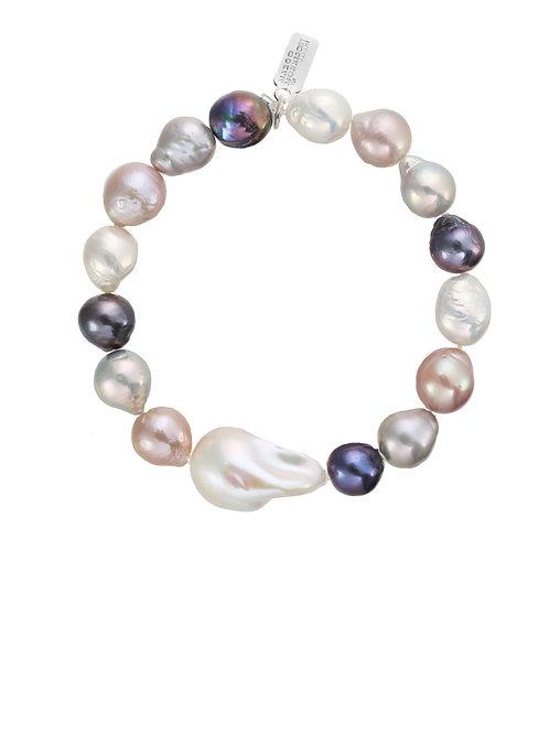 Margo Morrison - Multi-color Baroque & White Pearl Bracelet