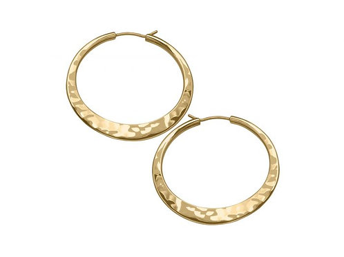 Hammered Hoops (Medium) - 14kt Gold - Ed Levin Studio