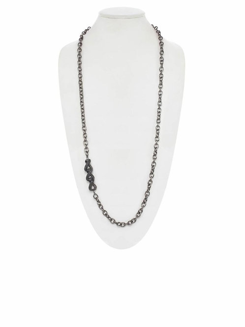 Black Spinel Triple Link & Rhodium Chain - Margo Morrison