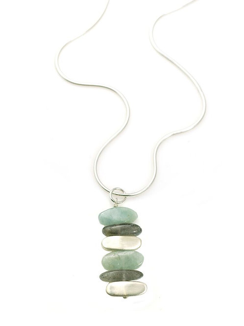 "Aquamarine, Labradorite & Sterling ""Nuggets"" Necklace - Philippa Roberts"